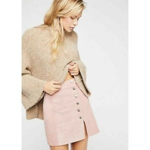 Free People Understated Pink Suede Mini Skirt